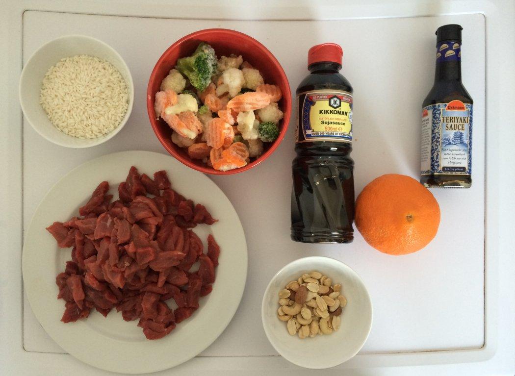 Zutaten Reispfanne Orange Rind