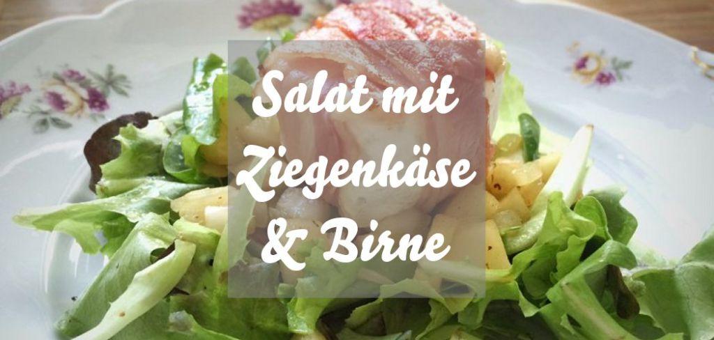 Salat mit Ziegenkäse im Speckmantel und Birne
