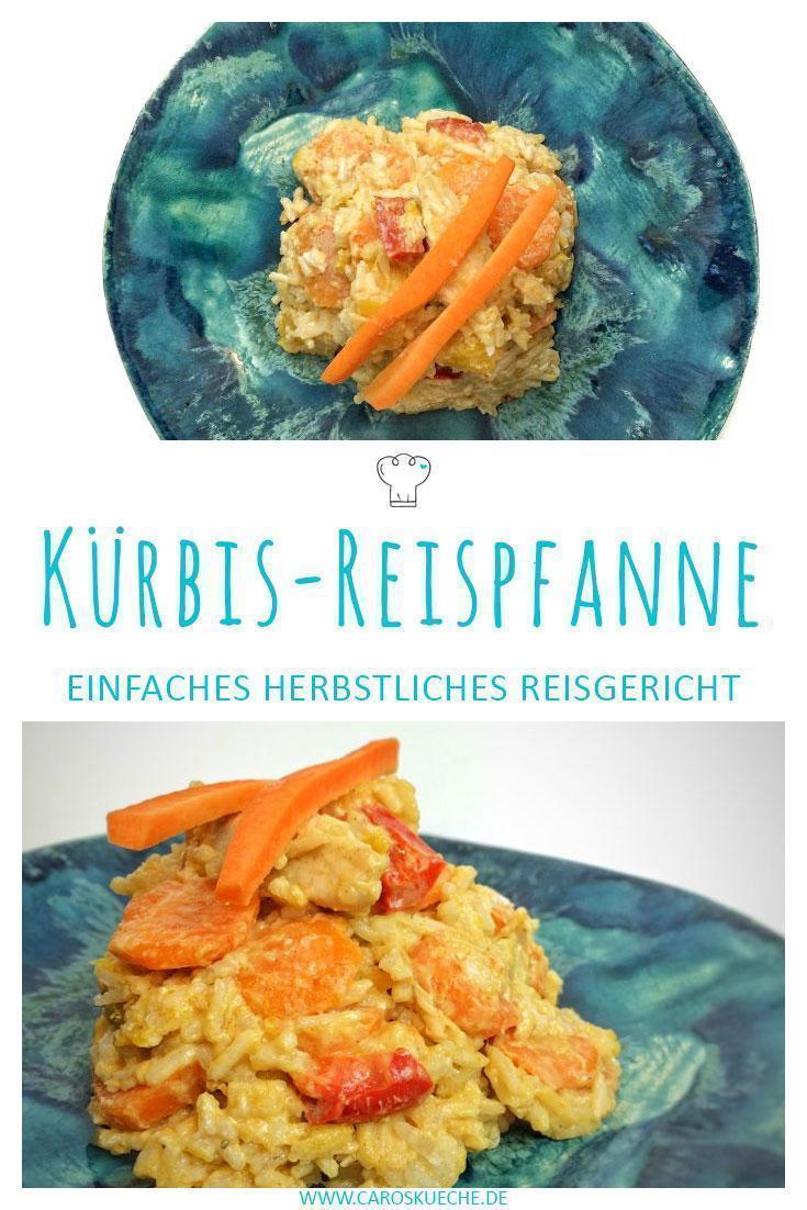 Kürbis-Reispfanne mit Hähnchen » einfaches Herbstrezept mit Kokos