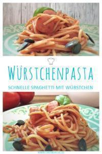Spaghetti mit Würstchen » Einfaches Spaghettirezept mit leckeren Würstchen