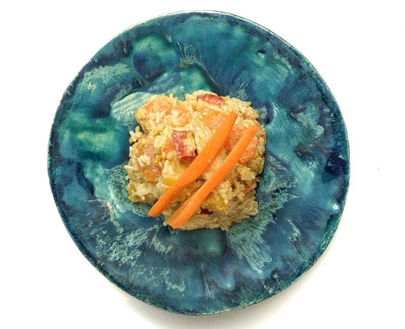 Reispanne mit Kürbis und Karotte