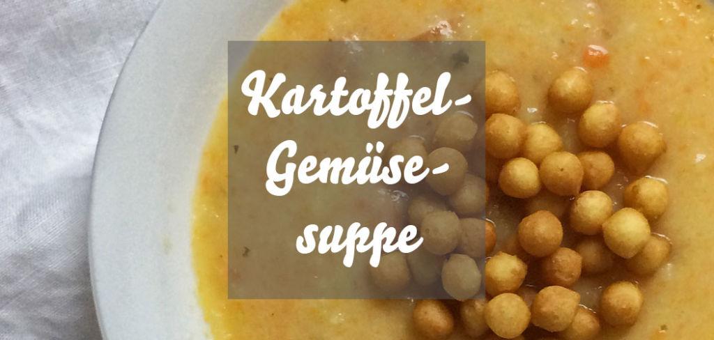 Kartoffel-Gemüsesuppe mit Backerbsen