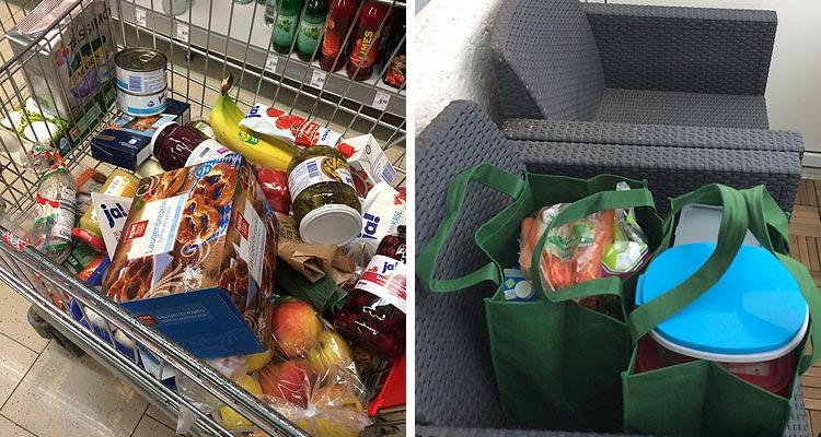 Einkauf Essen eine Woche