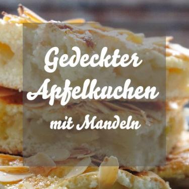 Gedeckter Apfelkuchen mit Mandeln