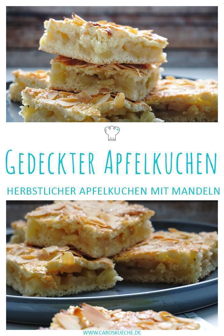 Einfacher gedeckter Apfelkuchen » Apfelkuchenrezept mit Mandelkruste