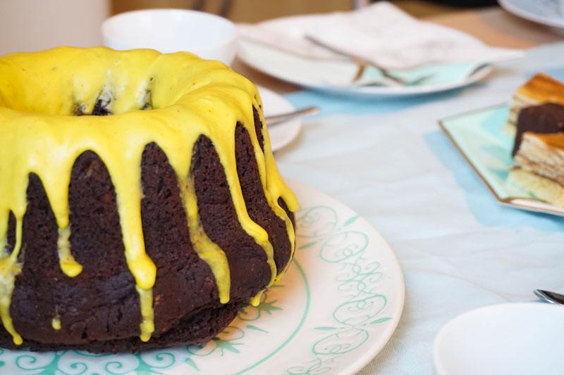 Schokoladenkuchen mit Kürbismus