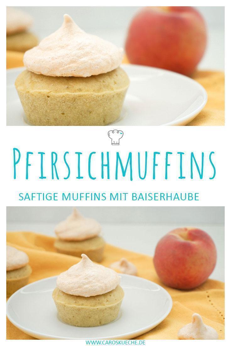 Pfirsichmuffins mit knackiger Baiserhaube » Baisermuffins Rezept zum Nachbacken