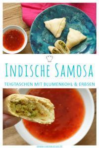 Rezept für indische Samosas, gefüllt mit Blumenkohl und Erbsen. Komplett selber machen