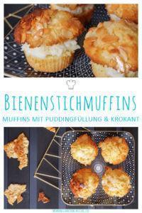 Bienenstichmuffins mit Vanillepudding
