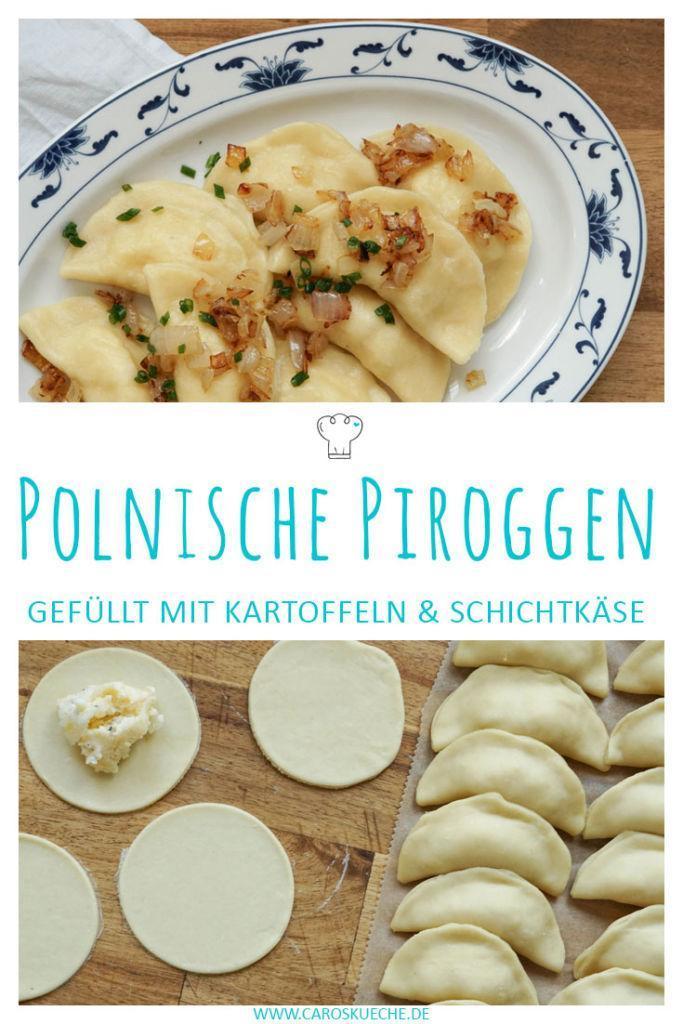 Polnische Piroggen gefüllt mit Kartoffeln und Schichtkäse » einfaches Rezept für Pierogi Ruskie