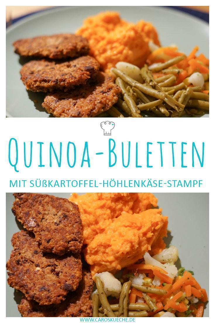 Quinoa-Kidneybohnen-Buletten mit Süßkartoffelstampf und Höhlenkäse » Festliches Menü für Wintertage oder als Weihnachtsessen