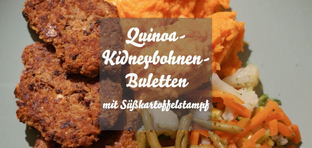 Quinoa-Kidneybohnen-Buletten mit Süßkartoffelstampf und Höhlenkäse