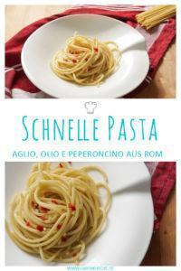 Pasta auf römische Art » Bucatini aglio, olio e peperoncino mit Knoblauch, Öl und Chili