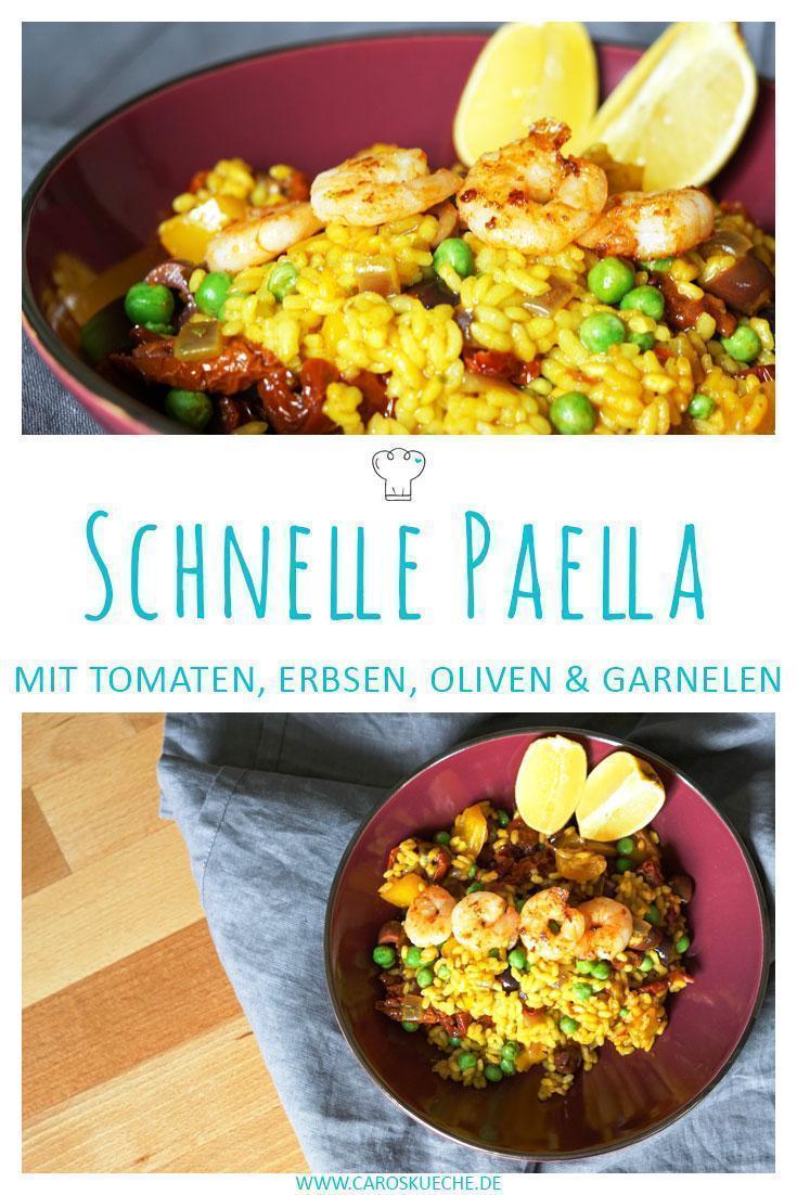 Paella Rezept mit Garnelen » schnelle Reispfanne à la Paella