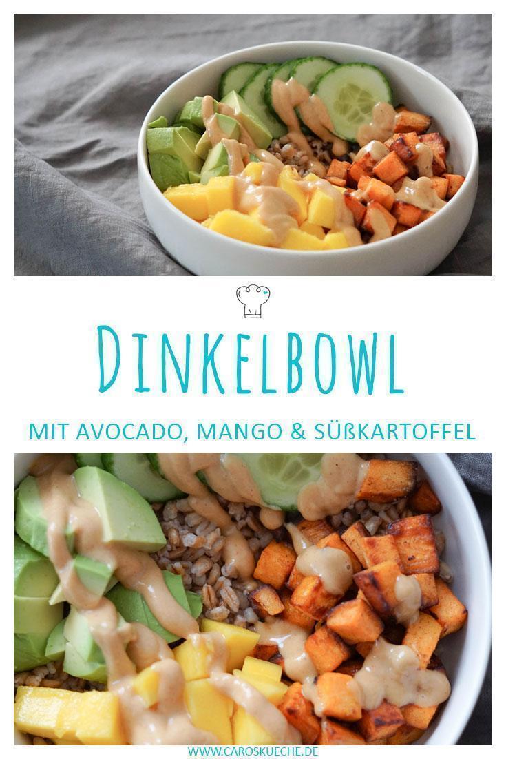 Gesunde und bunte Bowl » Dinkelbowl mit Süßkartoffel, Mango & Avocado