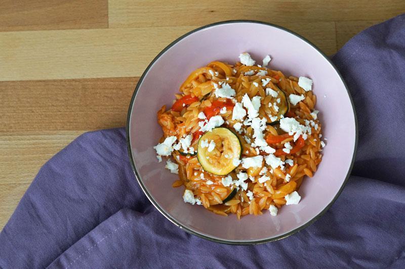 Kritharaki Rezept » Kritharaki Gemüsepfanne vegetarisch