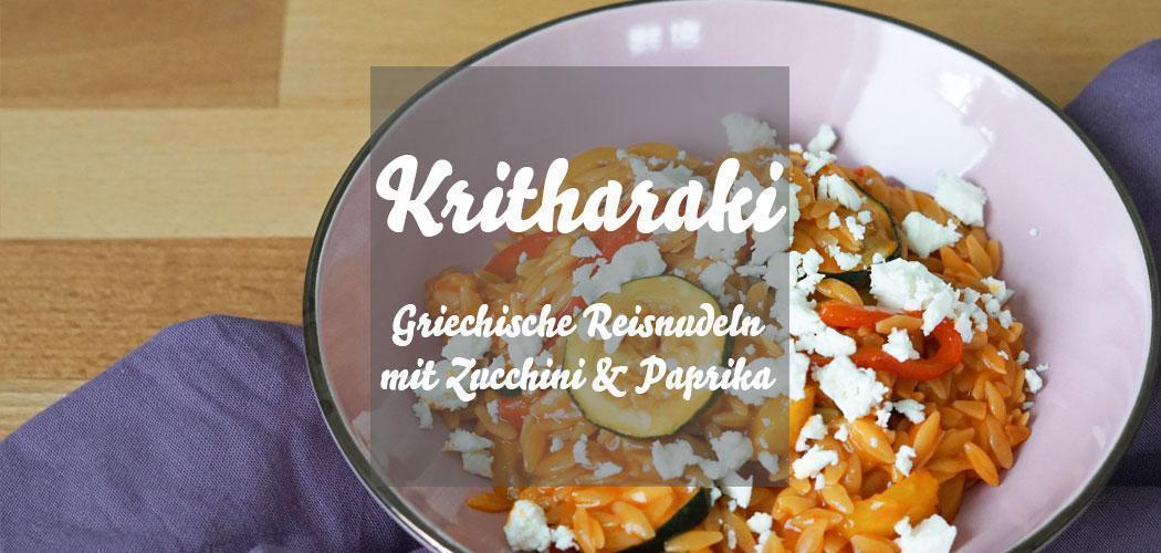 Rezept für Kritharaki, griechische Reisnudeln, mit gegrilltem Gemüse