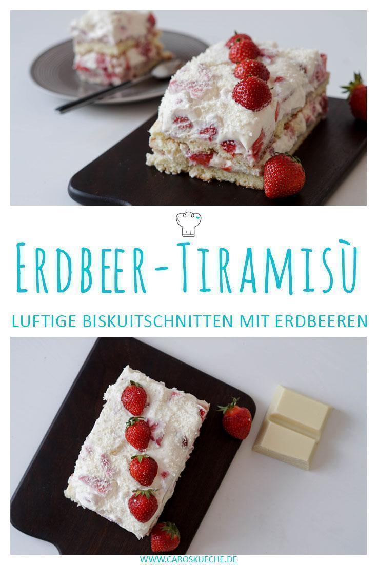 Einfache Erdbeer-Tiramisù-Schnitten ohne Alkohol » Fruchtiges Tiramisù mit Erdbeeren