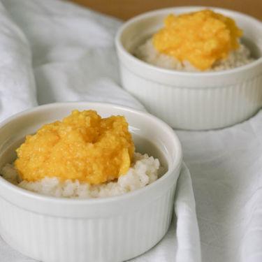 Veganer Milchreis » Kokosmilchreis ohne Zucker & Kokosmilch: Kokosmilchreis mit Mango selber machen