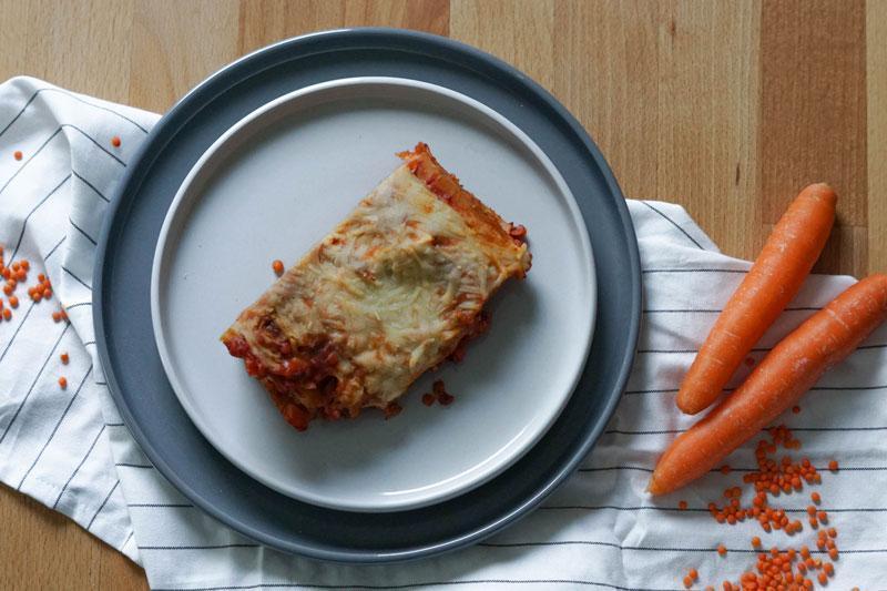 Vegane Lasagne mit Linsen & Möhren