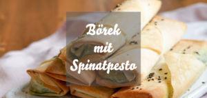 Vegane Spinatbörek mit Pestofüllung und Zitronendip