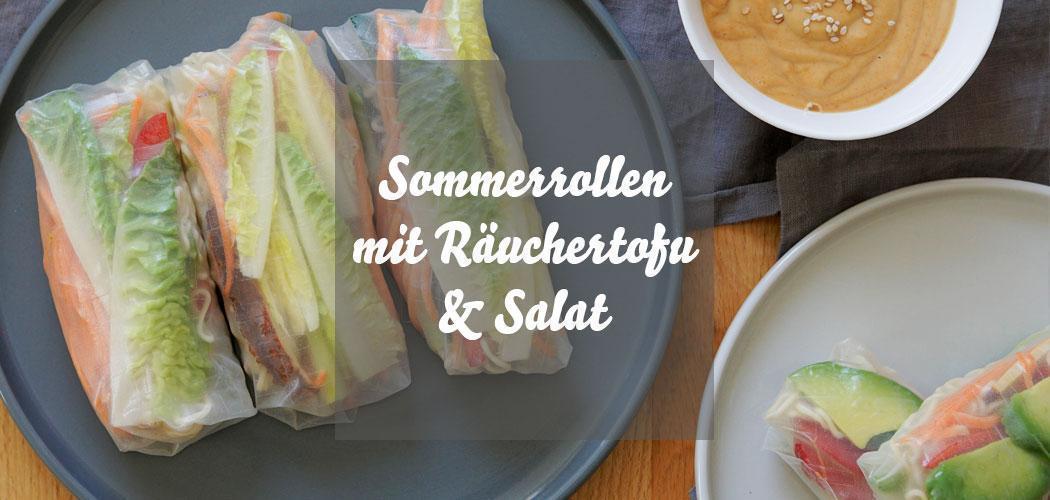 Vegane Sommerrollen mit Räuchertofu und Erdnusssoße