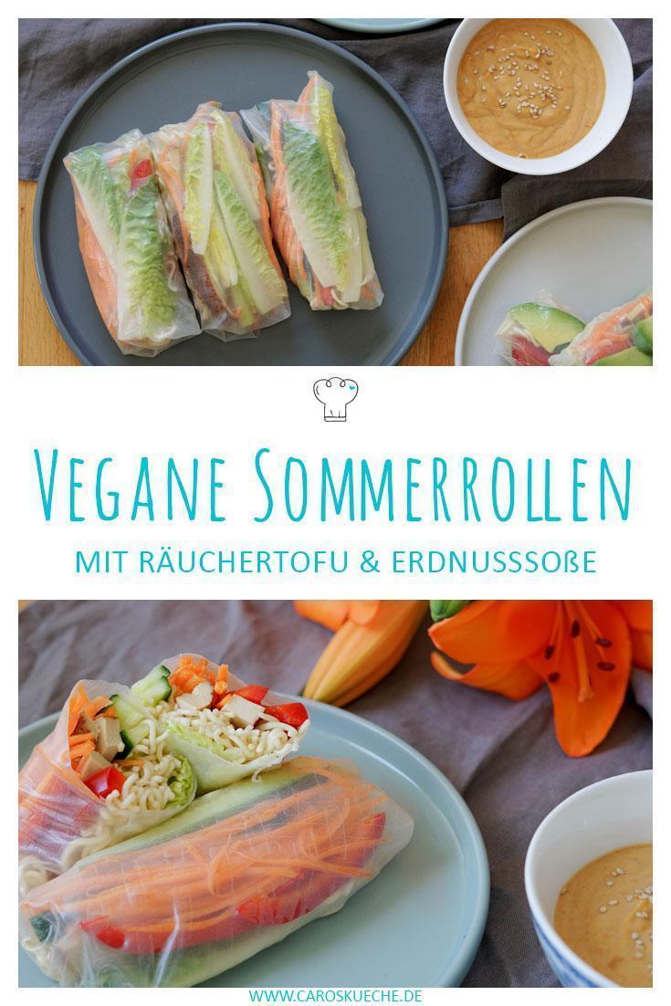 Vegane Sommerrollen mit Räuchertofu, Salat & Mienudeln, dazu Erdnusssoße