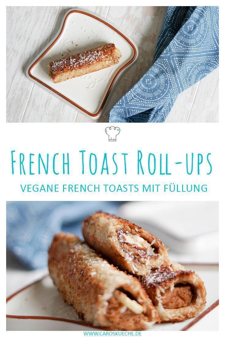 Vegane French Toast Rollen mit Bananenfüllung und Kokosmantel