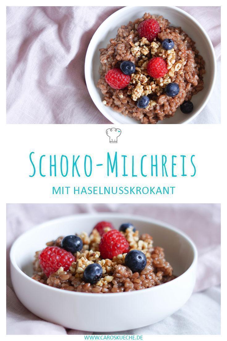 Schoko-Milchreis vegan mit Krokant und Beeren