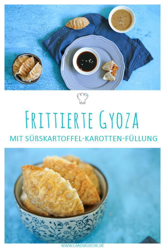 Frittierte Gyoza mit Karotten-Süßkartoffel-Füllung & veganem Hack
