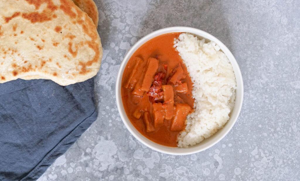 Indisches Butter Tofu wie Butter Chicken mit Reis