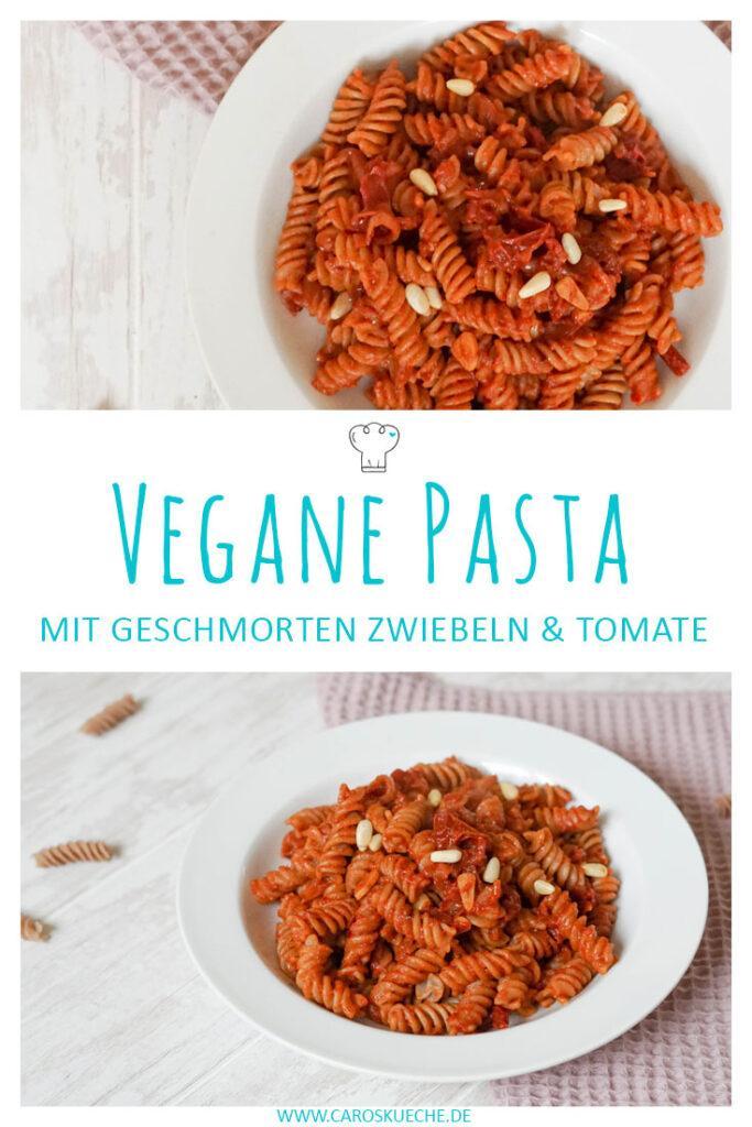 Vegane Pasta: Leckeres Nudelrezept mit Tomatensoße und Zwiebeln