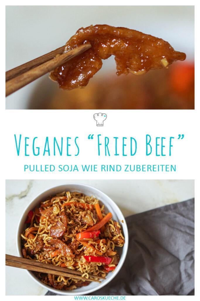 """Veganes """"Fried Beef"""" Pulled Soja wie Rind zubereiten"""