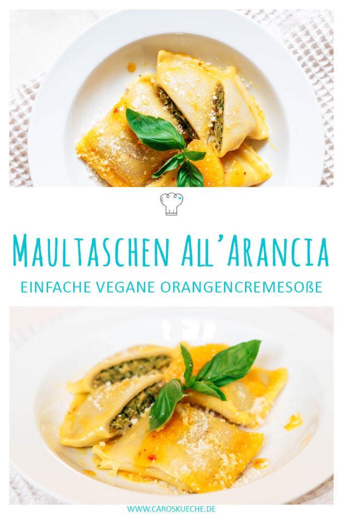 Einfache vegane Maultaschen mit Orangencremesoße